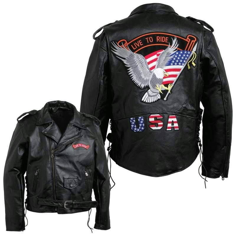 Diamond Plate Mens Hand-sewn Pebble Grain Genuine Buffalo Leather Jacket- L  $52.00  Features large eagle patch on the back; zip-out polyester lining; gunmetal zipper and buckle with black snaps; multiple small patches; belted waist; leather laces; shirt collar that snaps down; slash pockets; and snap epaulets on the shoulder. Live To Ride™ brand embroidered cloth patches are included and already sewn in place.  Item Summary : Coats, Apparel, Leather, Jackets, Motorcycle