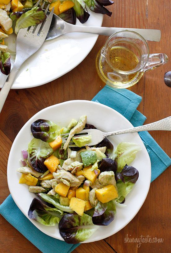 California Grilled Chicken Avocado and Mango Salad. Ready in minutes, perfect for a hot summer day or night!