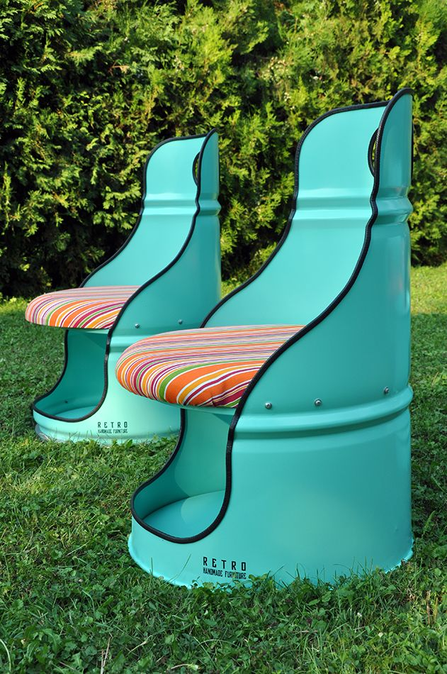 This unique custom made chairs ,is crafted out of a recycled oil drum and painted to eco- friendly colour on water base.