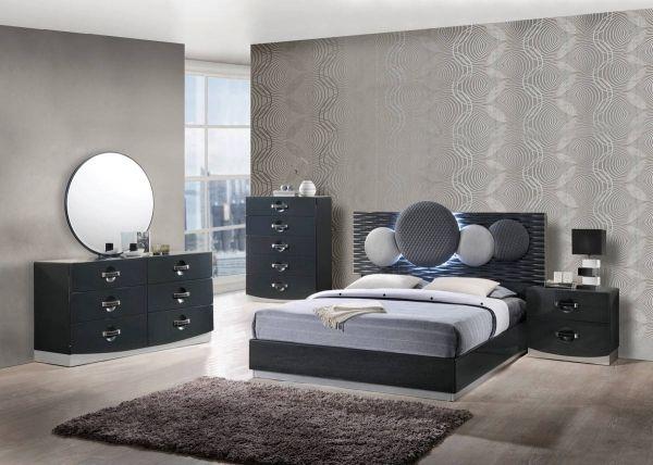 Dolce Dark Grey High Gloss Master Bedroom Set Bedroom Sets Queen