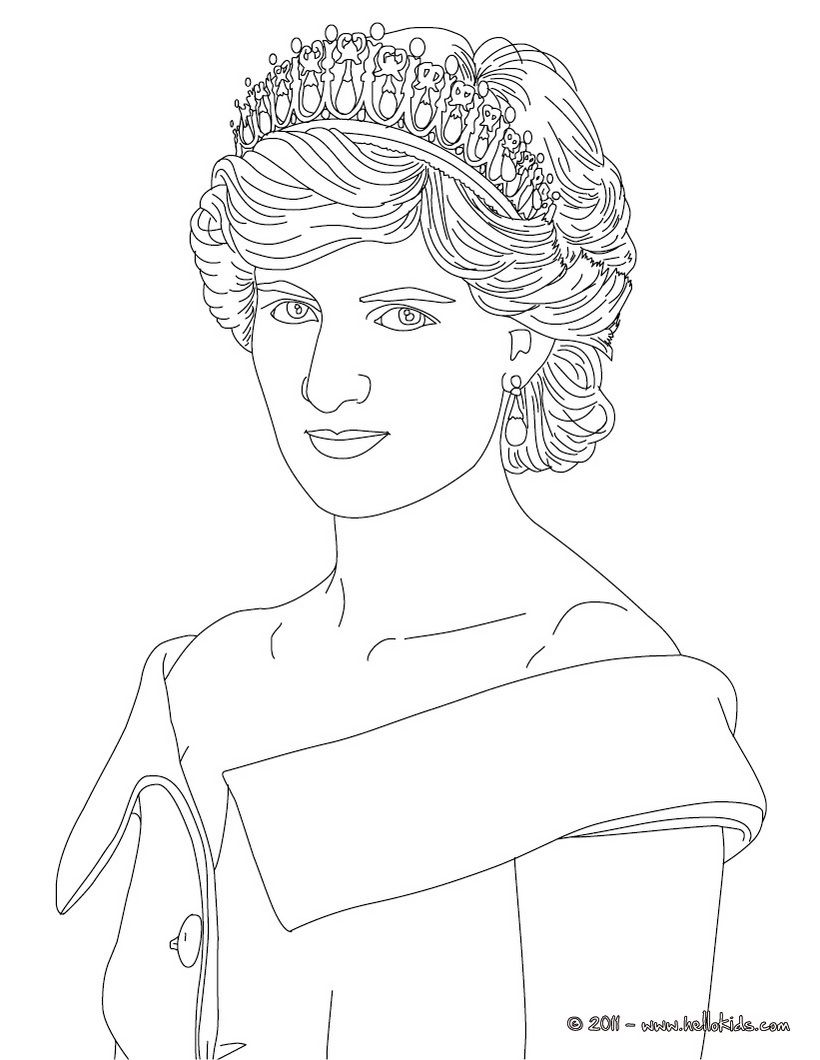 Princess Diana Of Wales Coloring Page Princess Coloring Pages Princess Coloring Disney Princess Coloring Pages