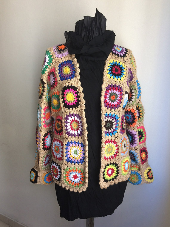 Afghan Crochet Cardigan /Festival Jacket /Hippie Blanket Festival ...