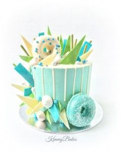 Blue Drip Cake with Chocolate Shards Baked Donuts Yum Novelty