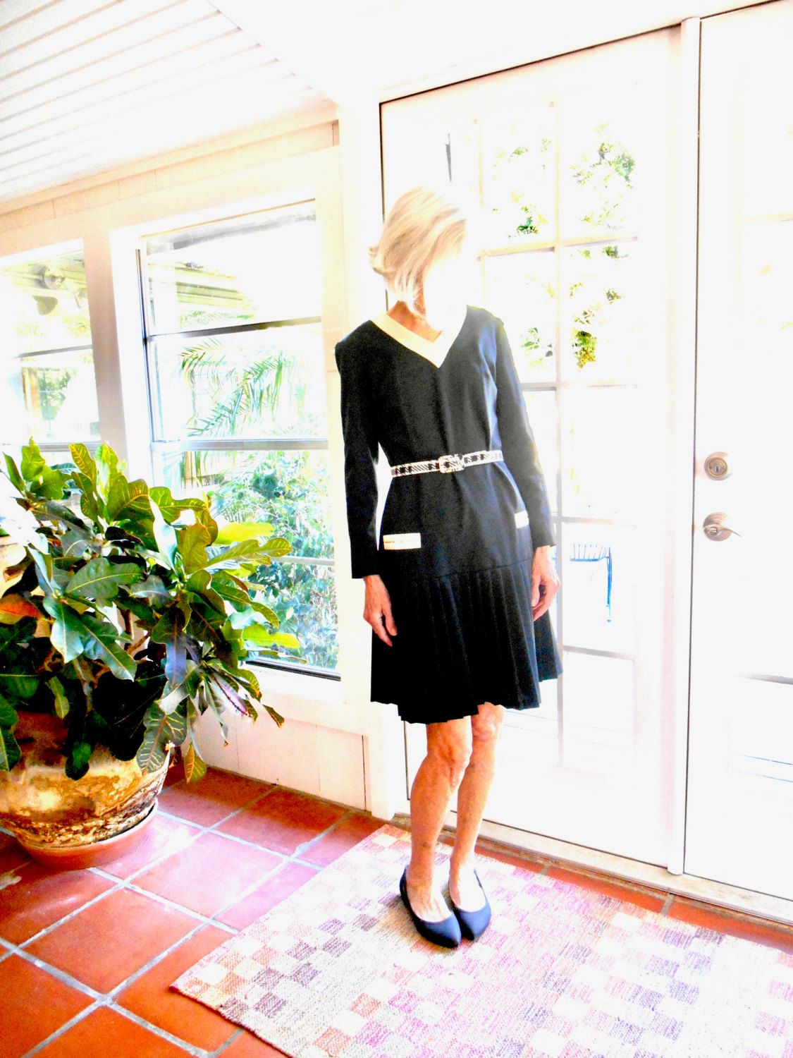 Vintage Barnsville Park Suite Collection black and cream polyester knit pleated dress 1960's gogo dollybird mod scooter girl: medium, large by BopandAwe on Etsy