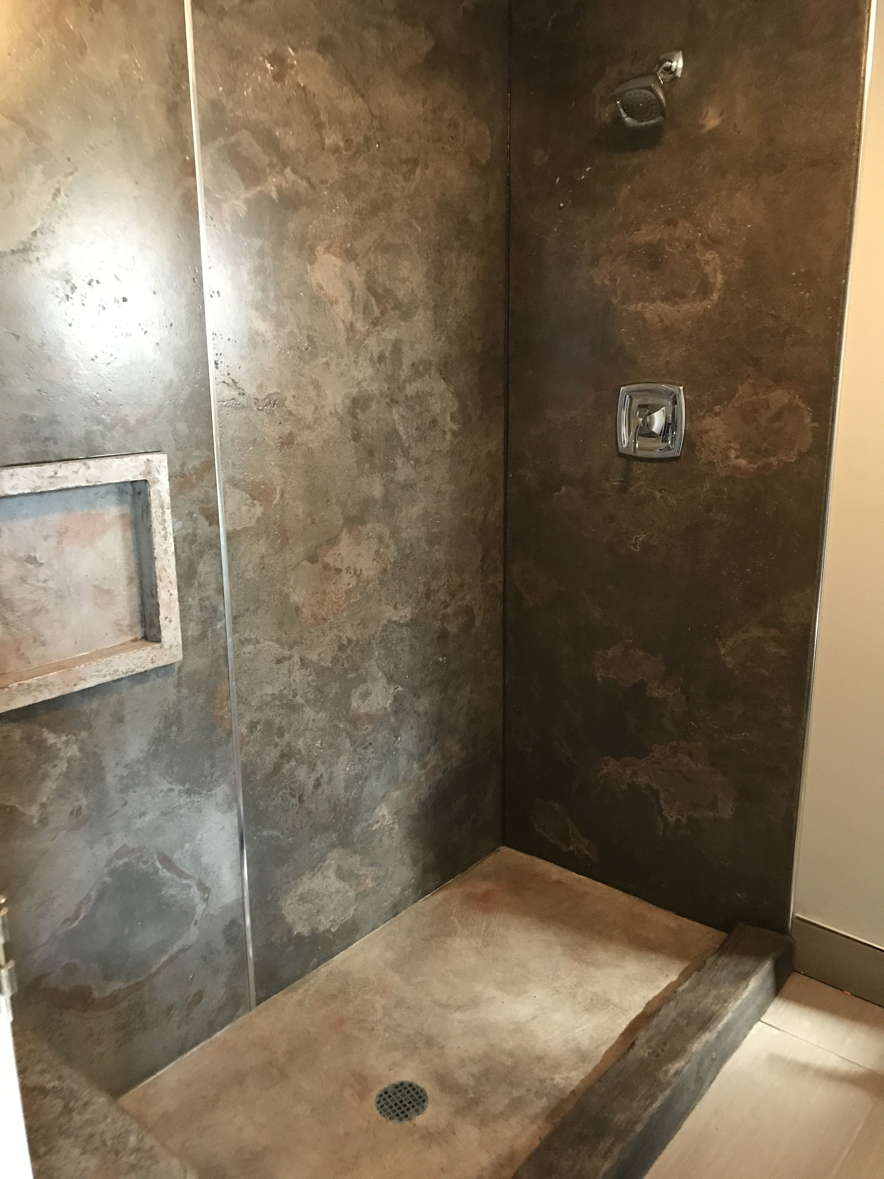 Concrete shower panel with carved stamped/carved pann and curb ...