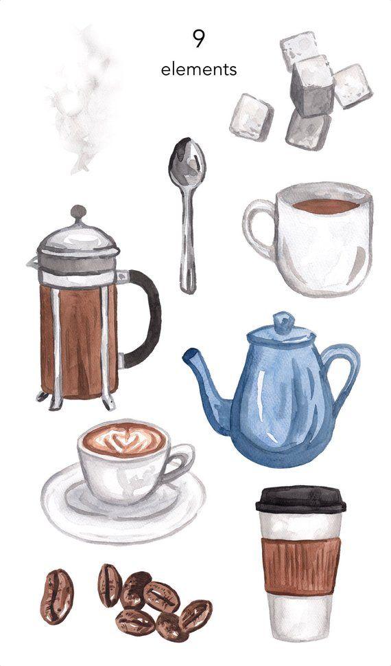 WATERCOLOR CLIPART, coffee clipart, coffee cup pot, sugar