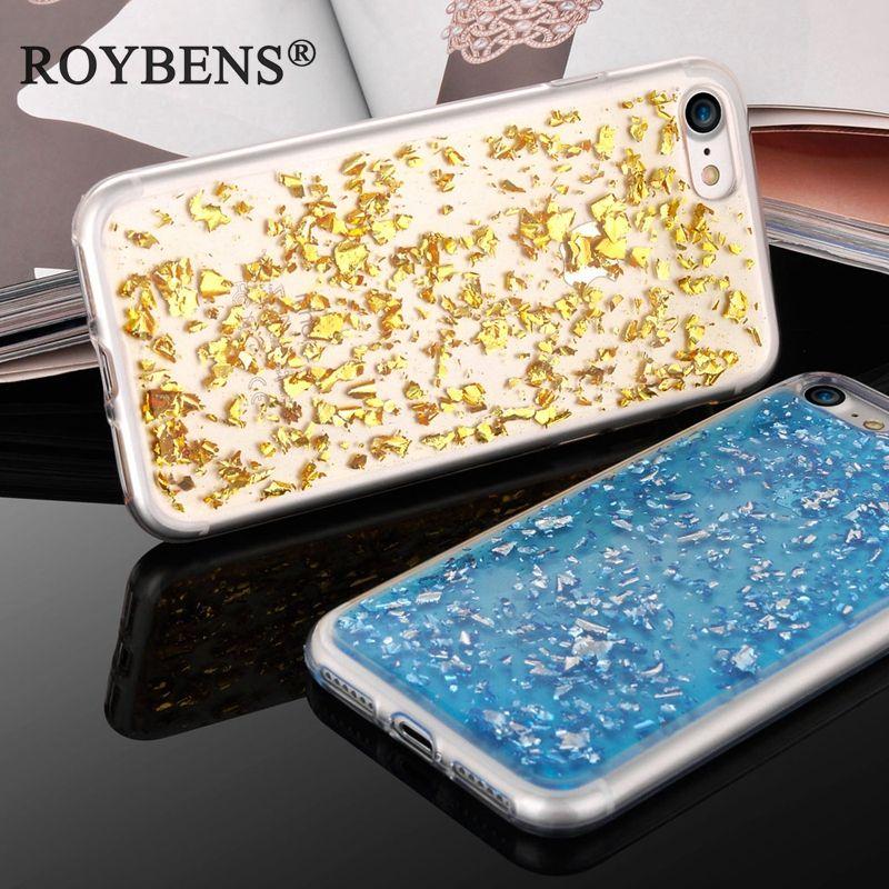 Roybens Luxury Paillette Sequin Skin Gold Bling Case For iPhone 7 Transparent Durable Silicone Cover For iPhone 7 Plus Clear TPU