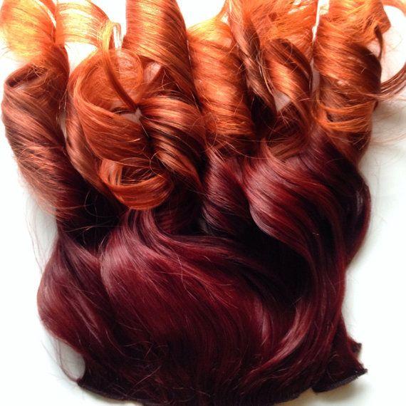 Ombre Hair Bright Red Auburn Burgundy To Gold Orange Clip Fade Clip