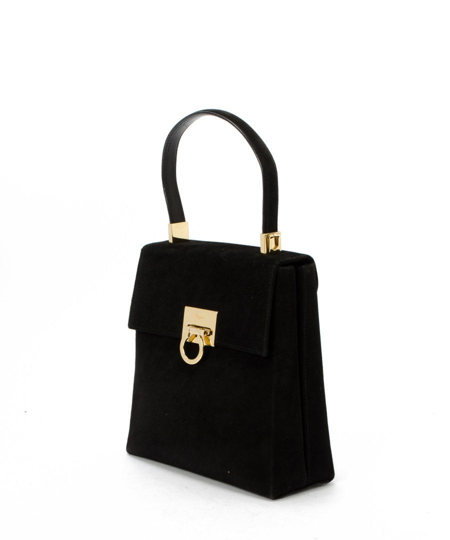 Salvatore black and gold suede bag the salvatore ferragamo bag in black  gold is listed in 53db353c8fbaf
