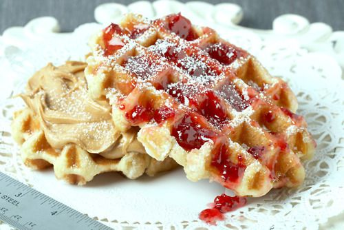 My Liege: Liege waffles with Smooth Operator peanut butter and red currant jam powdered delicately with confectioners' sugar.