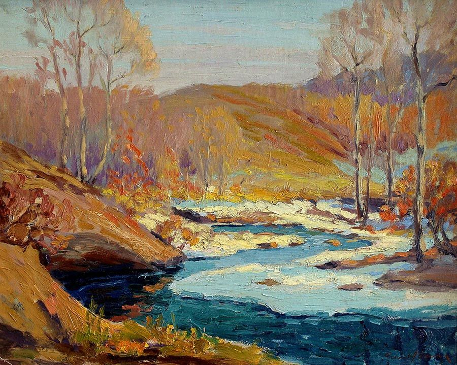"""Frank Joesph Vavra """"Winter Color"""" 16x20 Oil on Canvas Board"""