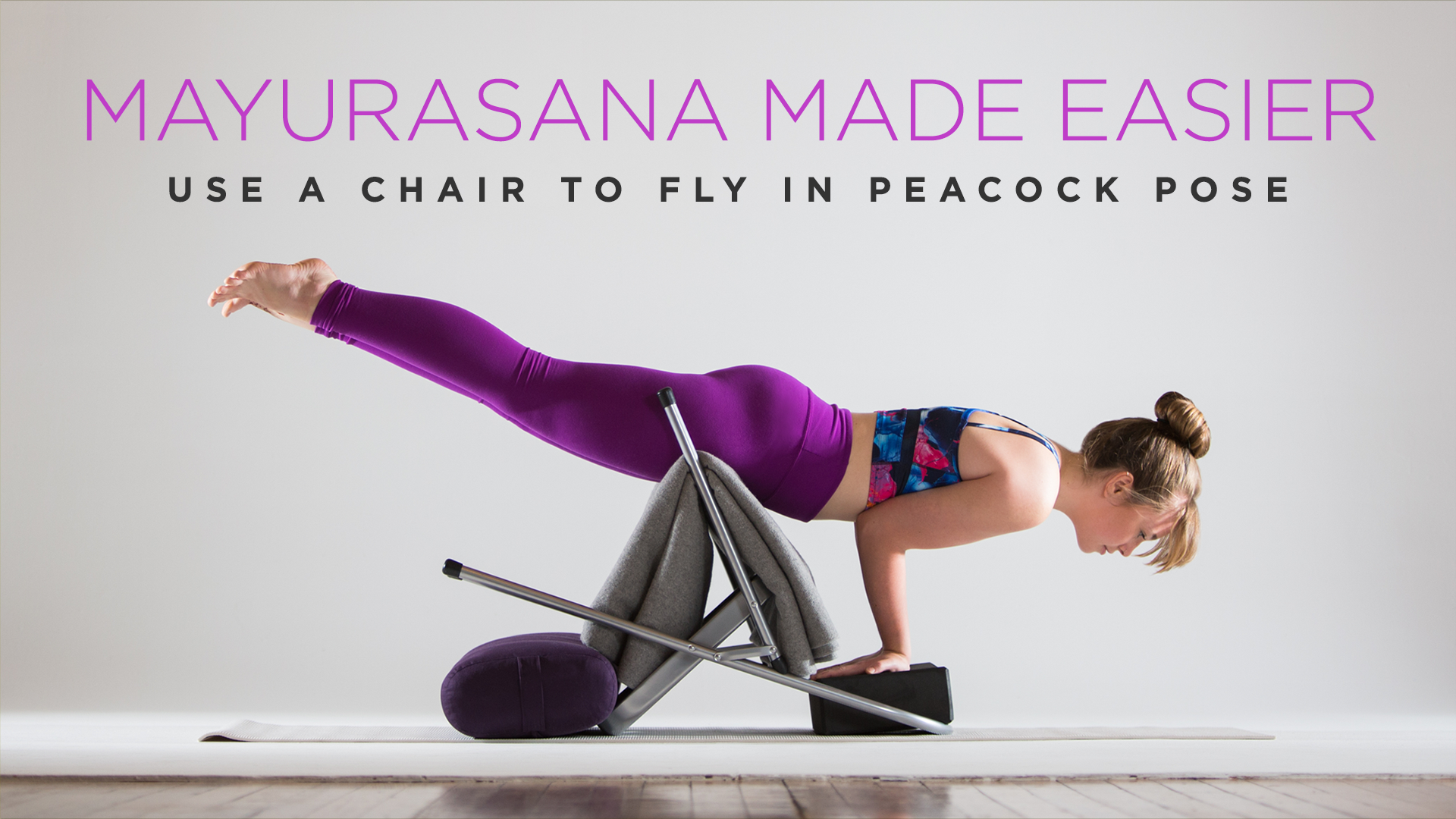 Mayurasana Made Easier Use A Chair To Fly In Peacock Pose Quick Yoga Workout Restorative Yoga Learn Yoga