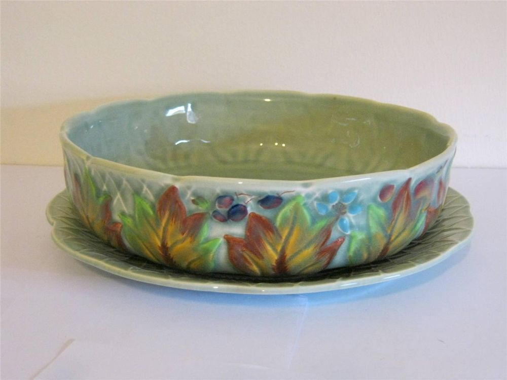 VINTAGE CLARICE CLIFF HANDPAINTED DRAINING BOWL & STAND