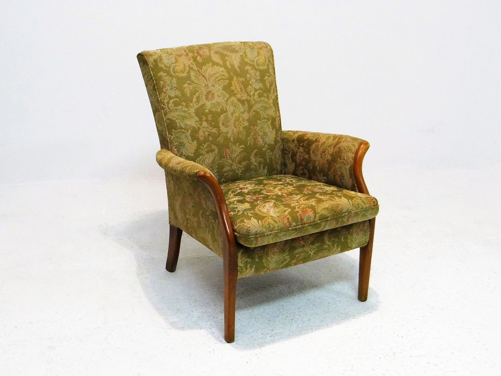 Knoll Sessel 50er Floral Vintage Armchair From Parker Knoll Jungle Green