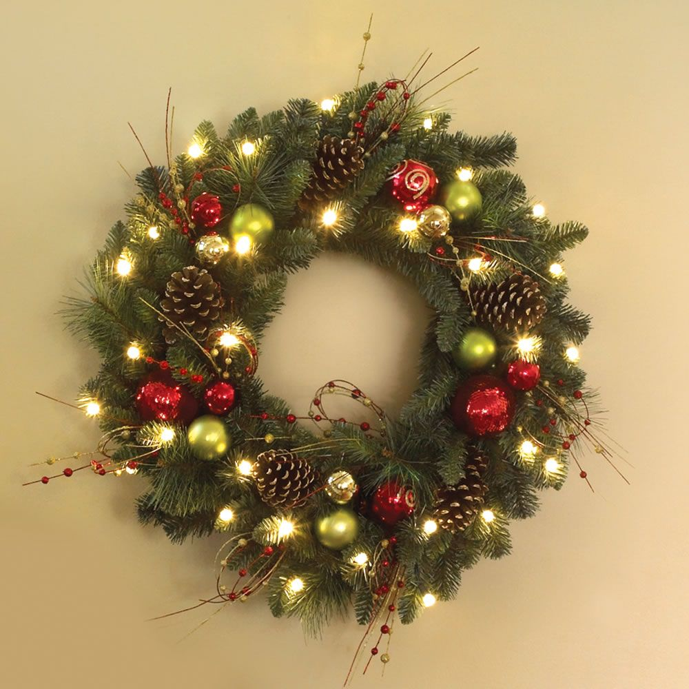 Outdoor Lighted Wreath Entrancing The Cordless Prelit Ornament Trim Wreath  Hammacher Schlemmer Inspiration