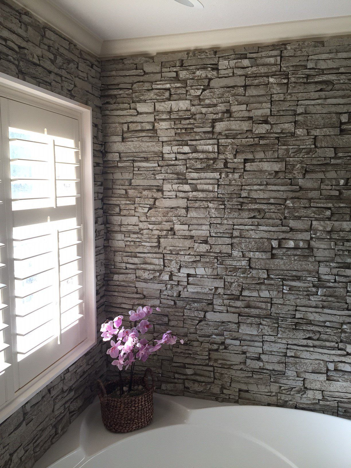 Gorgeous Bathtub Wall Surround Created With Norwich Stacked Stone Simple Bathroom Design Norwich Decorating Design