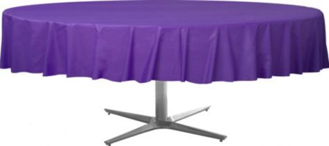 Purple Plastic Round Table Cover Party City