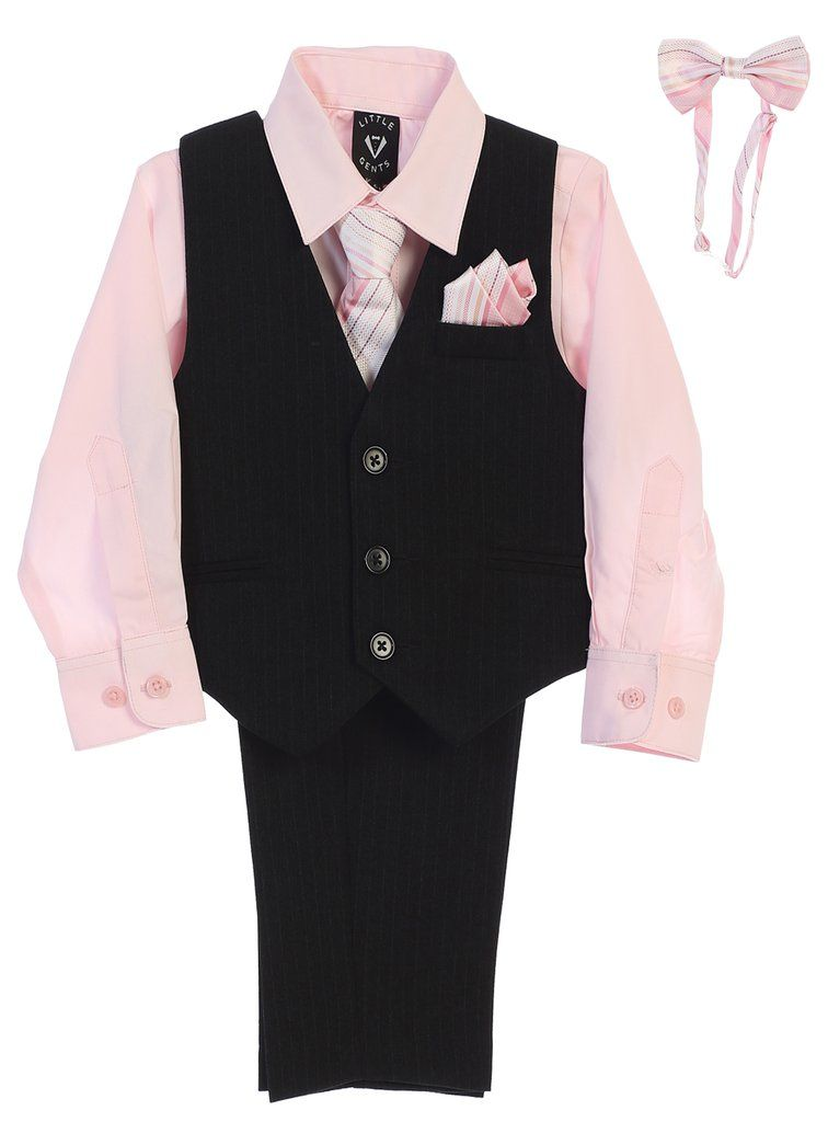 bb5608571 Boys Black Pinstripe Vest & Pants Set w. Light Pink Shirt 6m-12 in ...