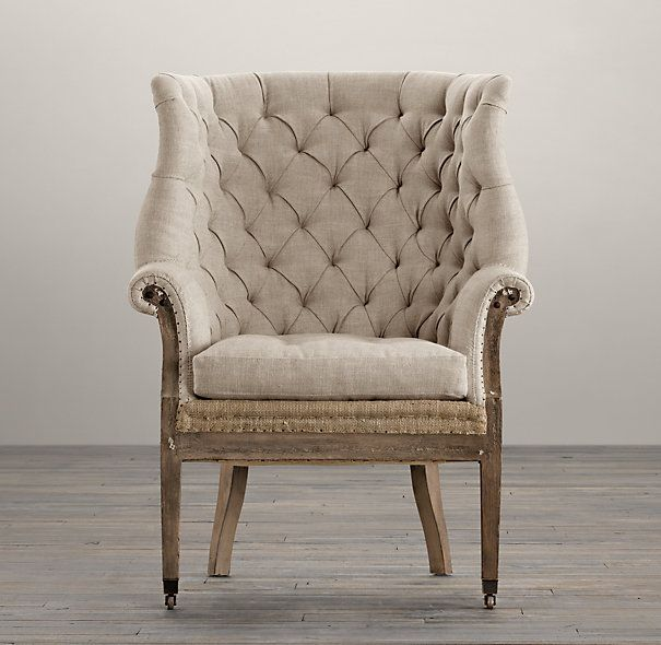 Deconstructed 19th C English Wing Chair Belgian Linen Sand Chairs