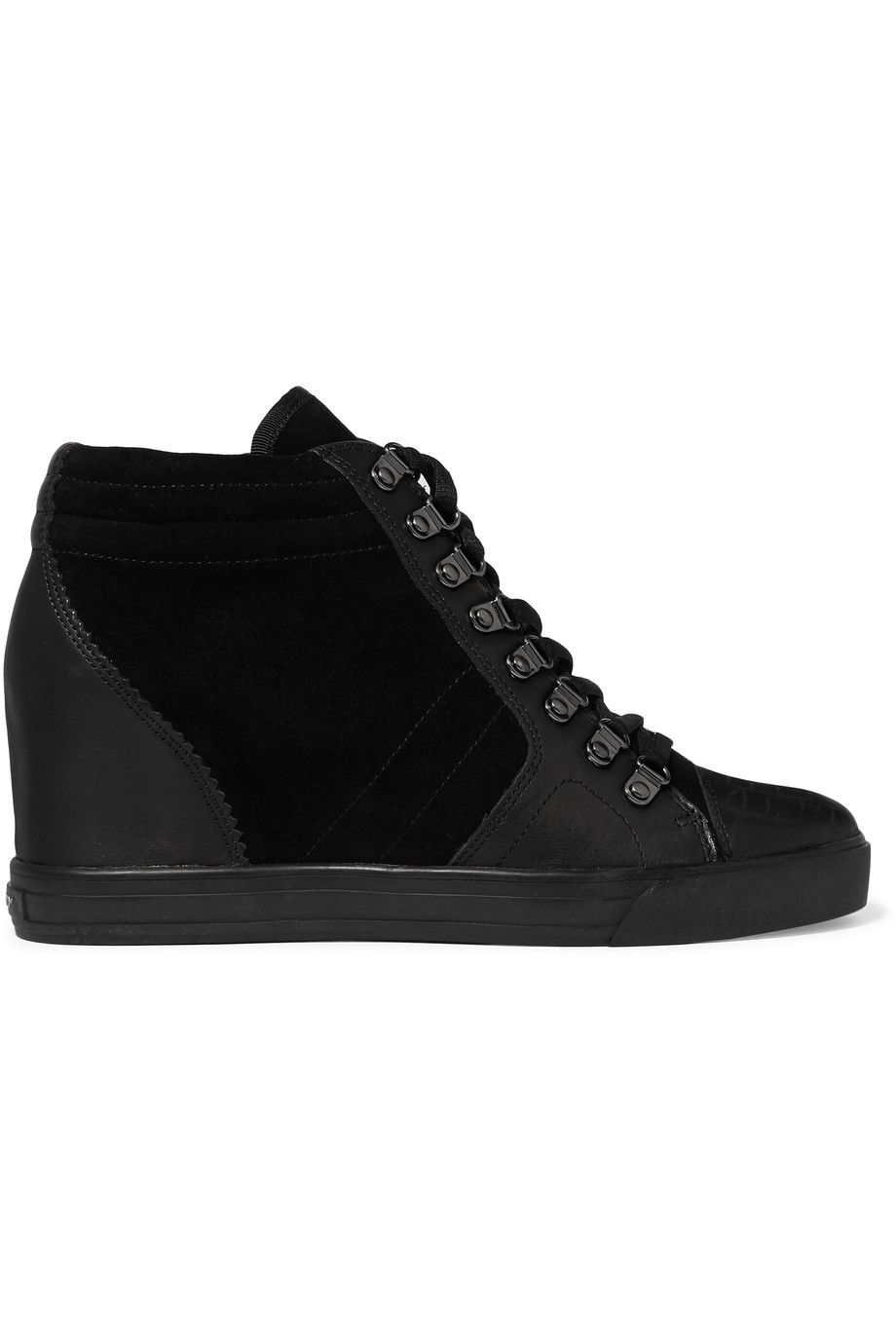 ec1b5c2288e6 DKNY Cindy Paneled Suede And Leather Wedge Sneakers.  dkny  shoes  sneakers