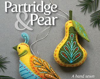 Goose a-Laying PDF pattern for a hand sewn wool felt ornament