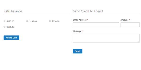 Magento 2 Extensie, Shoptegoed, Voeg geld toe aan je account en maak tegoed over naar vrienden