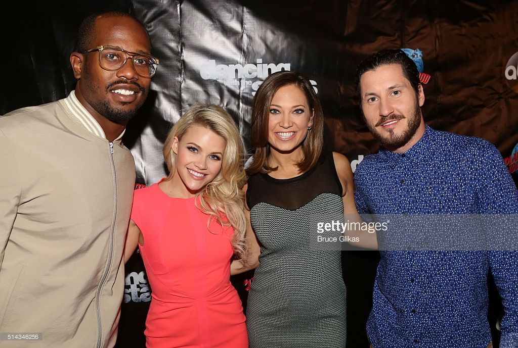 Von Miller, partner Witney Carson, Ginger Zee and partner Valentin Chmerkovskiy pose at the 22nd Season Stars of ABC's 'Dancing With The Stars' cast announcement at Planet Hollywood Times Square on March 8, 2016 in New York City.