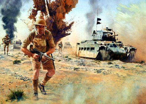 1941, Infantes británicos, apoyados por un carro Matilda al ataque e el desierto del Norte de África - Steve Noon - pin by Paolo Marzioli