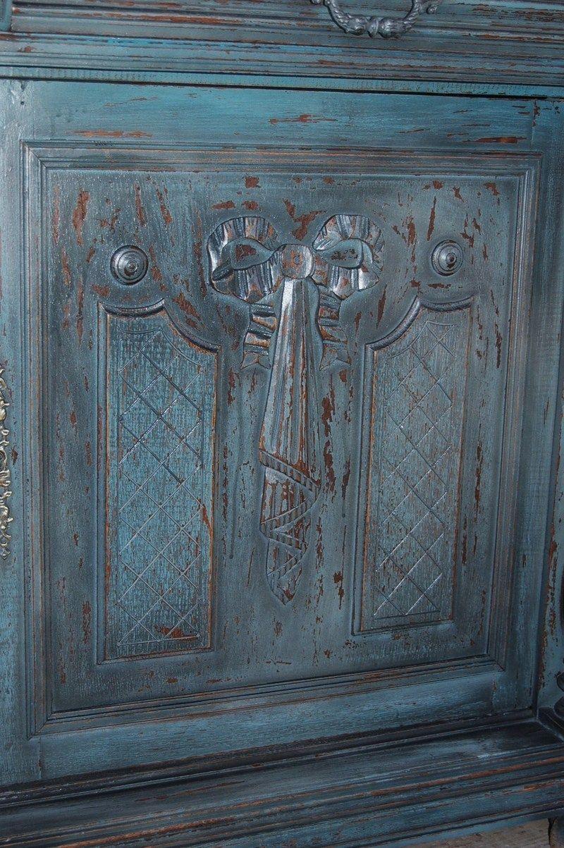 Buffet Bas Henri Ii Vert Antique Meuble Vieux Meubles Decorations Faites Maison
