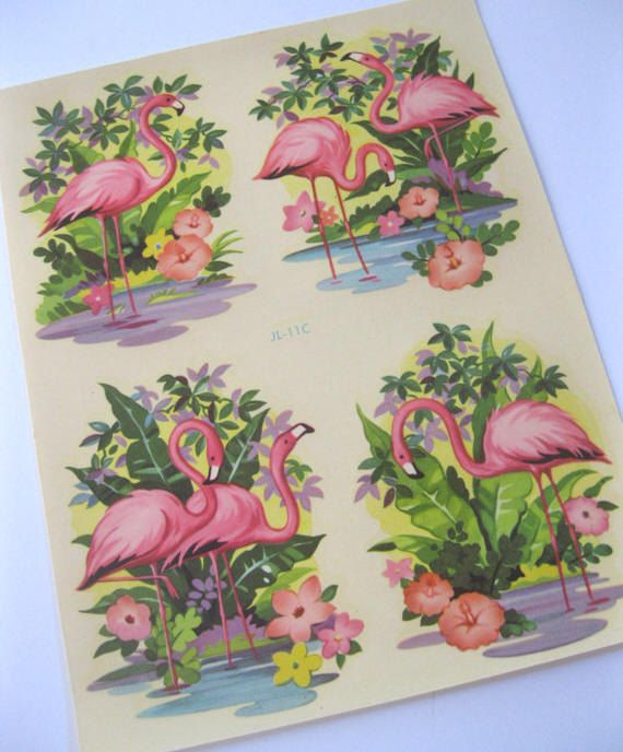 Vintage flamingo decal transfer water decal -  vintage Meyercord1940s Mid Century kitschy style scrapbooking