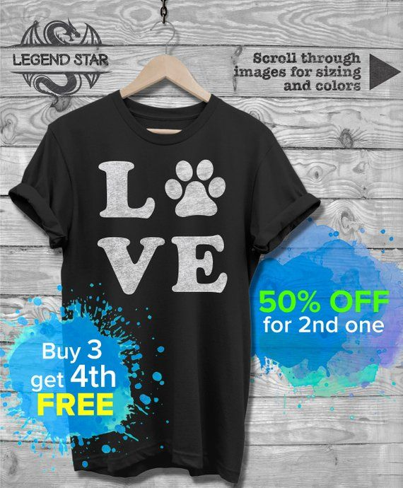 57485fbb Love Dog Paw Print Dog Lover Dog Owner T Shirt, New Dog Tee, Dog Mom Shirt, Dog  Dad Tshirt, Christmas xmas gift, Unisex Clothing, Dog Shirts