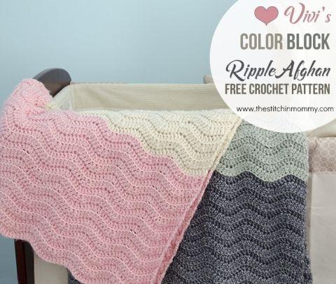 Vivis Color Block Ripple Afghan Free Crochet Pattern Ripple