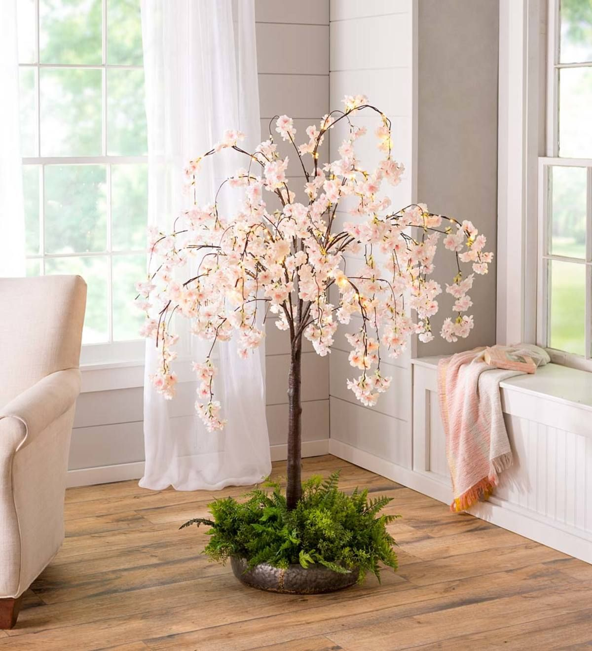 Small Lighted Faux Weeping Cherry Tree 4 H Plowhearth Weeping Cherry Tree Cherry Tree Home Decor