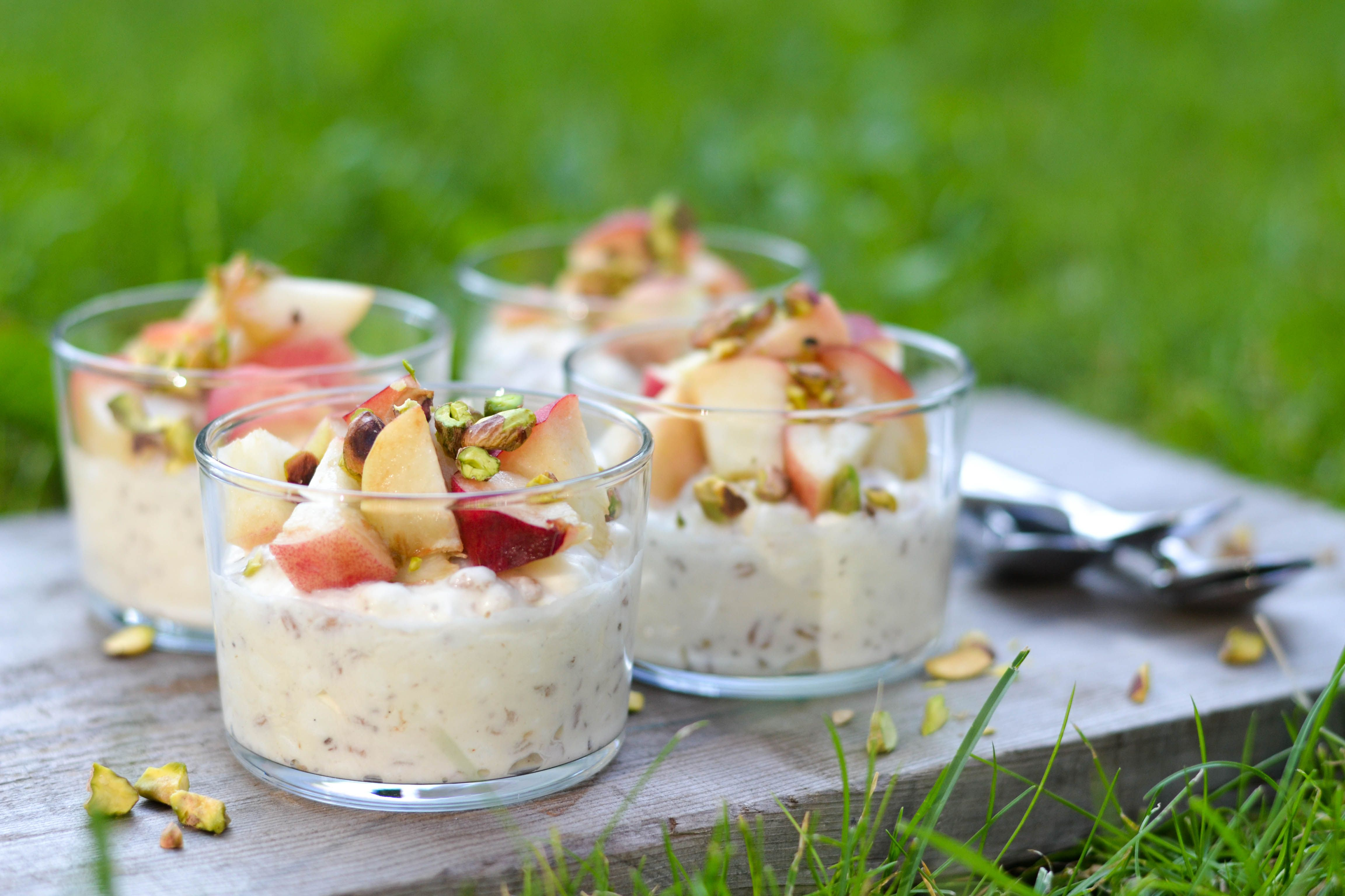 creamy cottage cheese and spelt dessert with peaches and pistachio rh pinterest com desserts to make with cottage cheese desserts to make with cottage cheese
