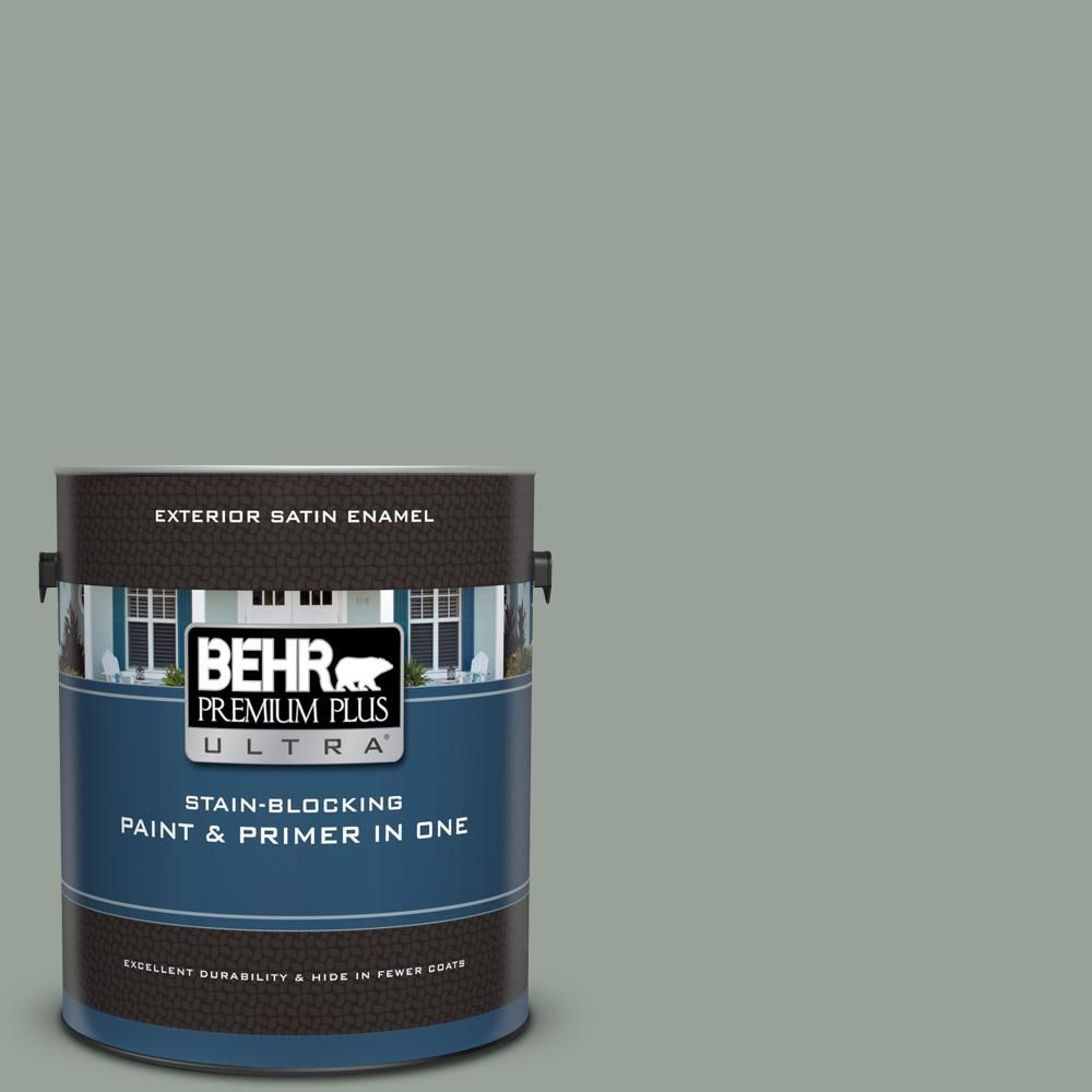 Behr Premium Plus Ultra 1 Gal 700f 4 Pinedale Shores Satin Enamel Exterior Paint And Primer In One Interior Paint Exterior Paint Behr