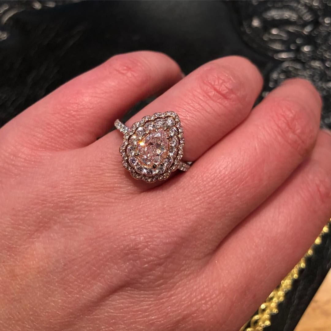 pink pear cut diamond ring - engagement ring   Engagement/Wedding ...