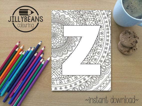 Colouring Pages Alphabet Printable : Hand drawn colouring page mandala alphabet letter z