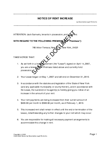 Notice of Rent Increase (USA) - Legal Templates - Agreements ...