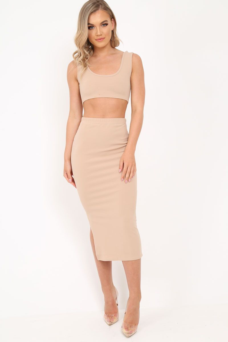 6441604236a7d Nude Body Con Skirt And Crop Top Co-Ord - Loyola