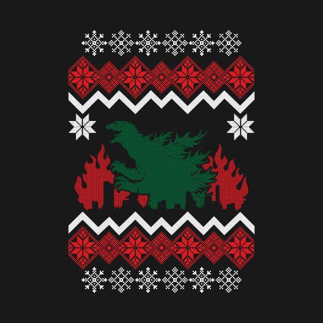Godzilla Christmas Sweater Christmas Xmas Christmassweater