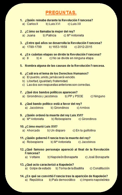 Cuestionario Sobre La Revolucion Francesa Búsqueda De Google Revolucion Francesa Revolucion Cuestionarios