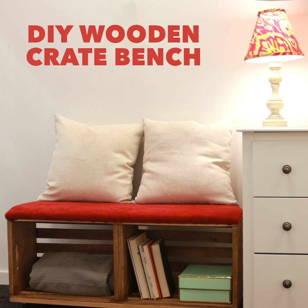 This Crate Bench Is So Easy To Make And It S Budget Friendly Too Crate Bench Diy Wooden Crate Diy Furniture Easy