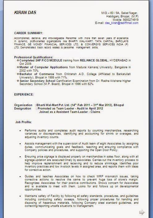 copy of curriculum vitae Sample Template Example of Excellent - sap fico resume sample