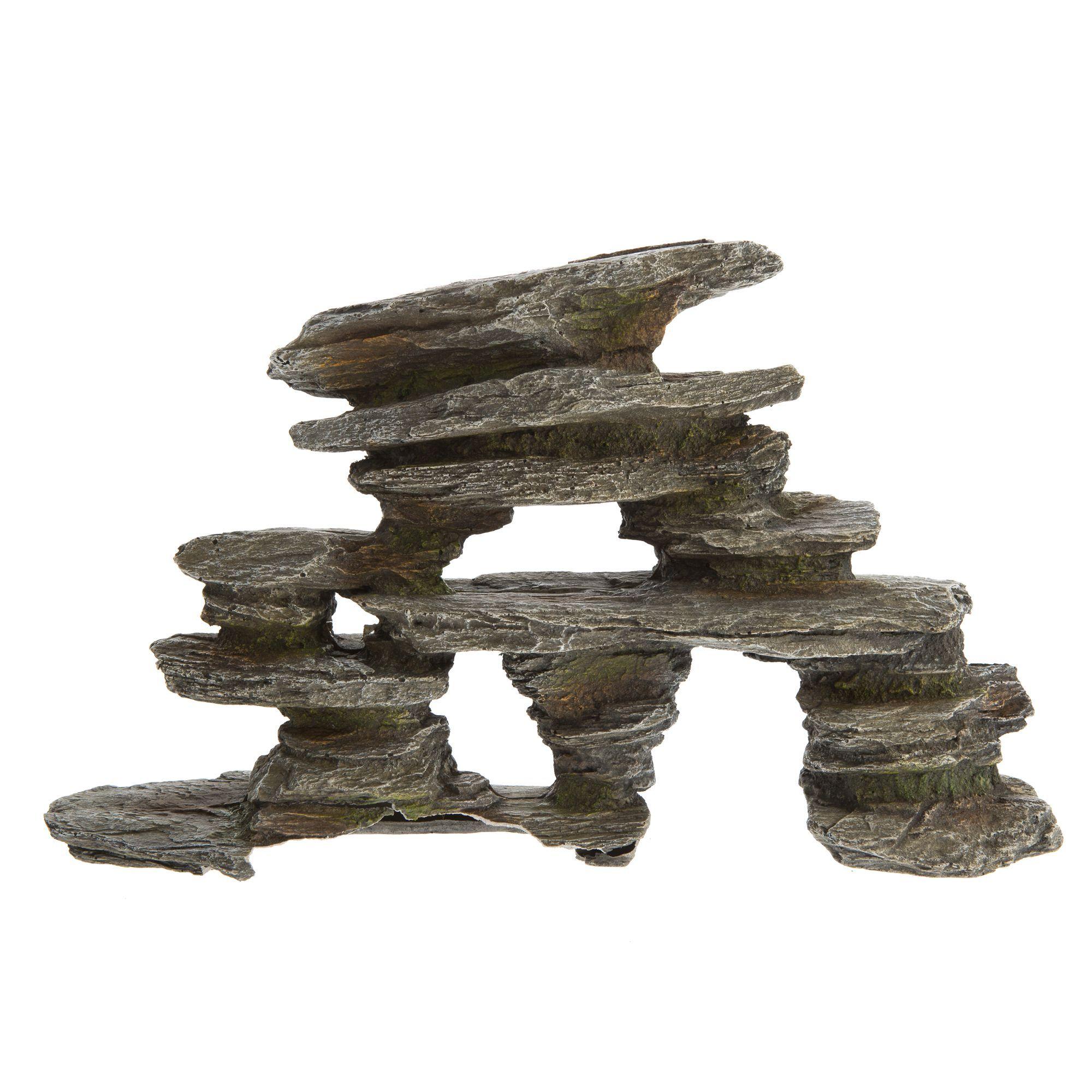 Top Fin Gray Stacked Rock Aquarium Ornament, Grey