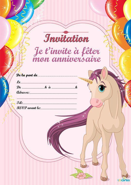 invitation cheval unicrone imprimer cette invitation. Black Bedroom Furniture Sets. Home Design Ideas