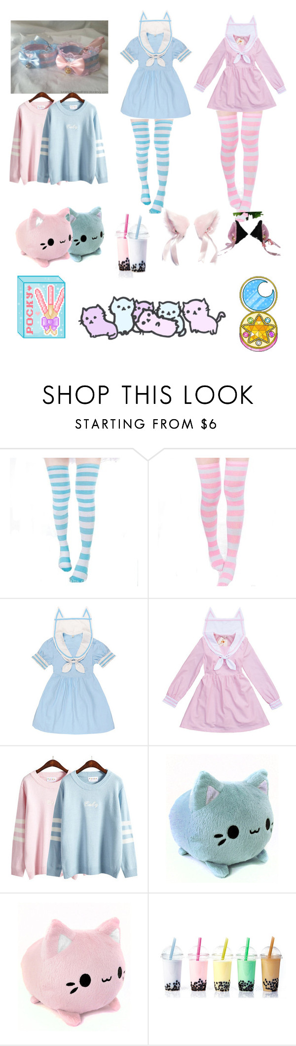 """Kawaii Pastel twin kittens"" by thefoxyokai ❤ liked on Polyvore"