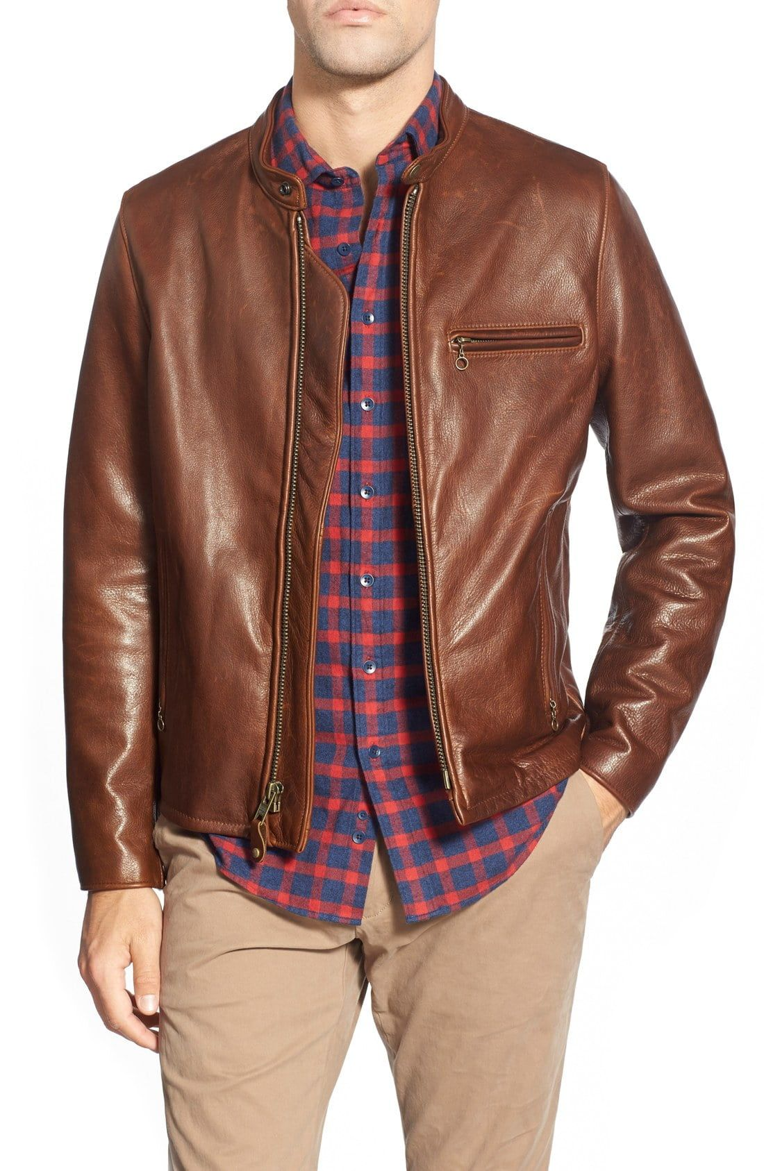 Men's Schott Nyc Café Racer Oil Tanned Cowhide Leather