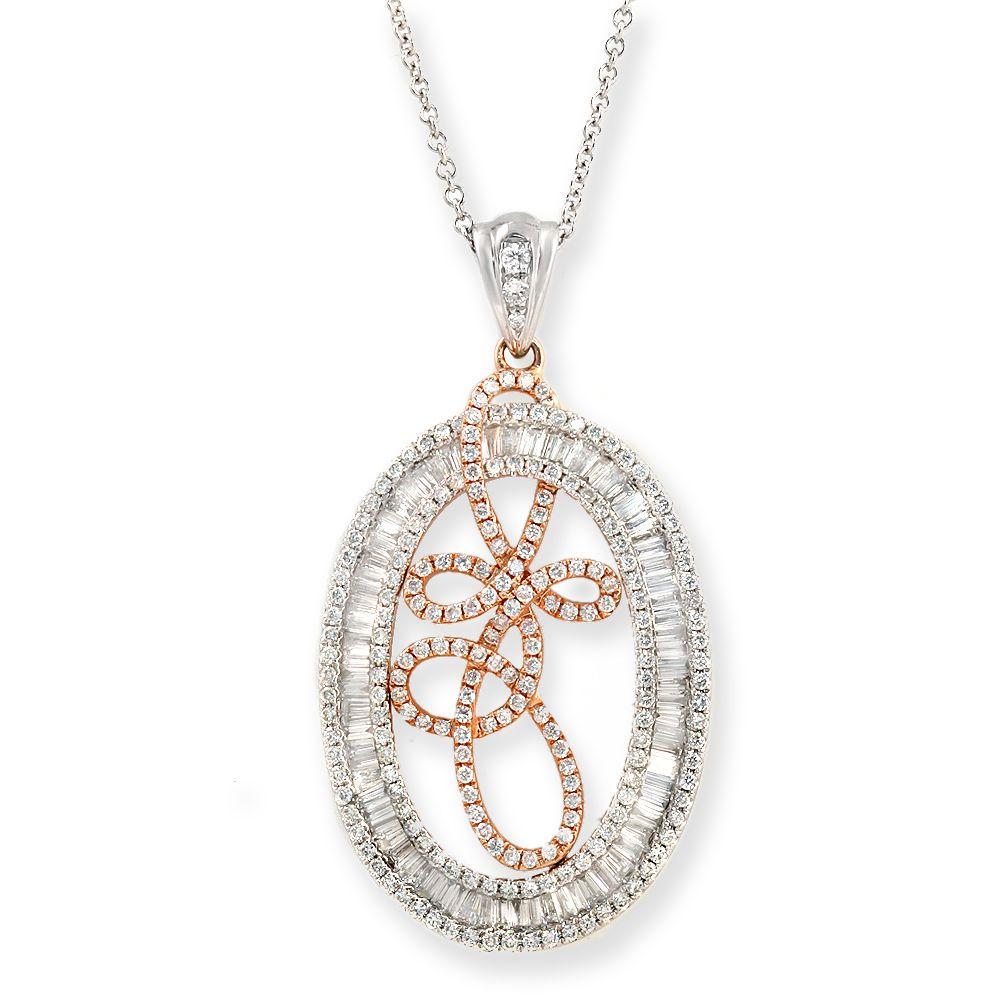 "Fancy 18K Gold 1.94 CT Diamond Art Pendant 14K Gold Chain Necklace Size 16""»N123 #Unbranded #Necklace"