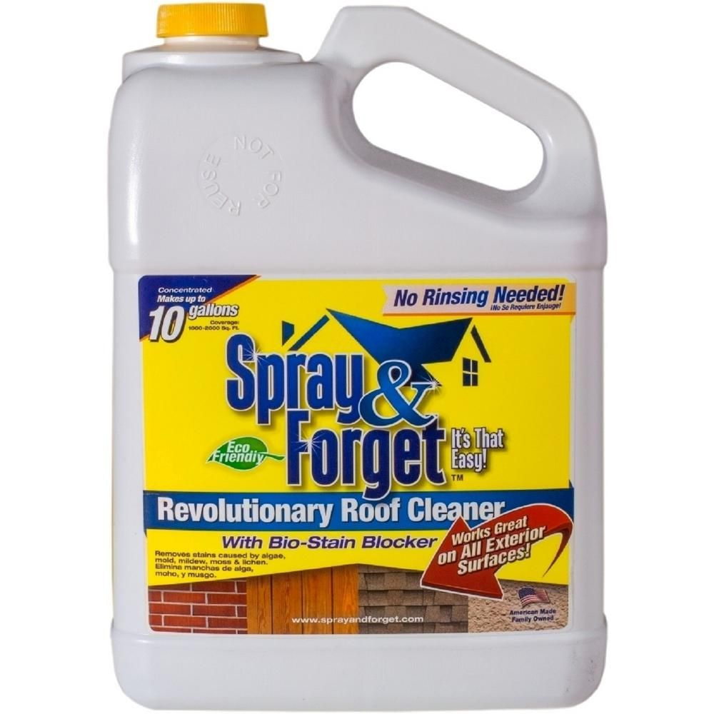 Spray Forget 1 Gal Concentrated No Rinse Eco Friendly Roof And Exterior Surface Cleaner Deck Cleaner Roof Cleaning House Deck