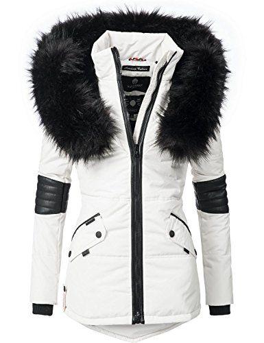 c72f7ee90e Navahoo Nirvana Veste d'hiver pour Dame avec Une Capuche en Fausse Fourrure  Noire Blanc